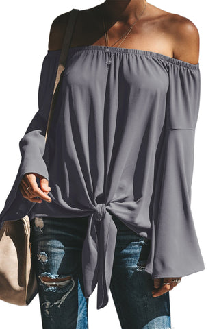 Relax Fit Top Stylish Grey Off The Shoulder Bell Sleeve Tie Blouse