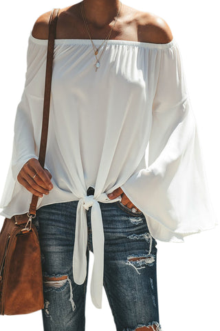 Relax Fit Top Stylish White Off The Shoulder Bell Sleeve Tie Blouse