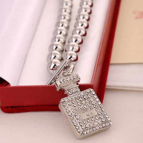 """Mod Series"" Rhinestone Beads Bottle Pendant Necklace"