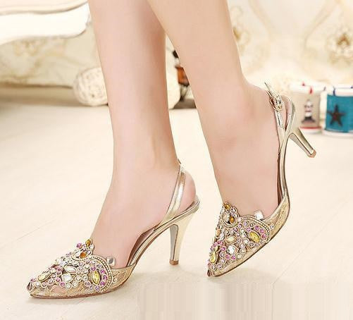 Rhinestone Buckle Woman High Stiletto Heel Pumps Platform Gorgeous Ladies Shoes