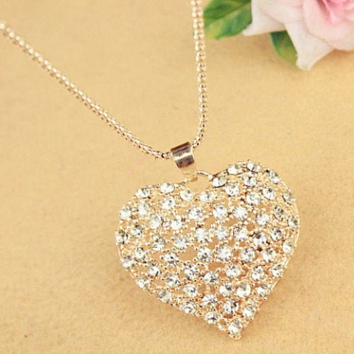 """Mod Series""  Rhinestone Heart Pendant Sweater Chain Necklace"