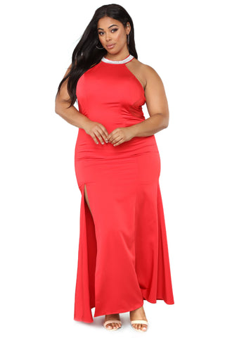Rhinestone Trim Red Twisted Love Her Fashion Plus Size Maxi Dress