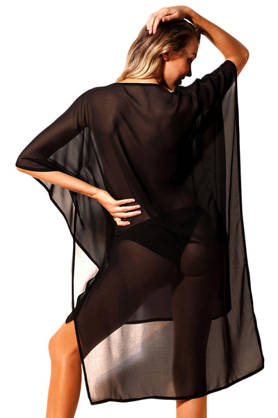 Rhinestone V Neck Black Sheer Kimono Her Fashion Beach Cover Up Dress