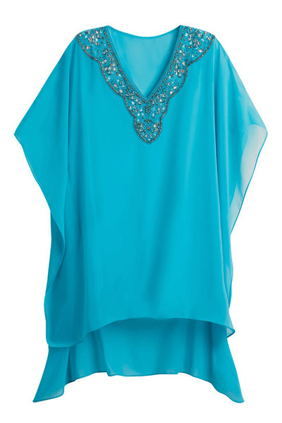 Rhinestone V Neck Blue Sheer Kimono Her Fashion Beach Cover Up Dress