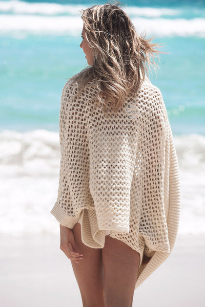Ribbed Shawl Splice Cardigan Trendy Beachwear