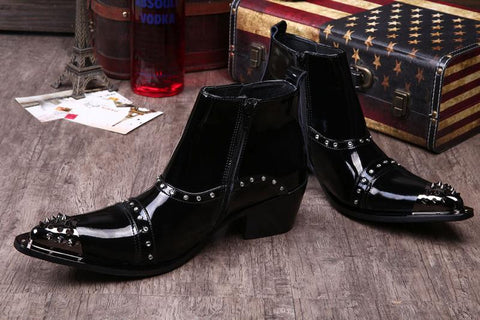 "Genuine Leather Rivets Mid-Calf Pointed Toe  Boots ""Splendere"" Series"