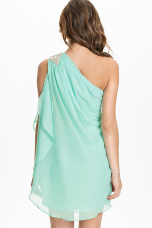 Roman Asymmetric Drape One Shoulder Mini Dress