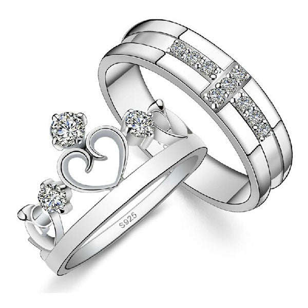 Romantic Power Couple Wedding Ring His and Her Fashion Jewelry