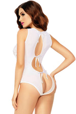 Romantic White Allover Lace and Mesh Keyhole Women Teddy Lingerie