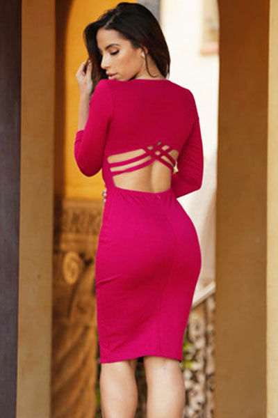 Rose Sexy V Neck HerFashion V Neck Bodycon Midi Dress