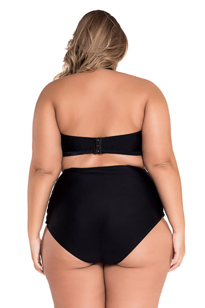 Rosy Contrast-Color High Waist Bikini Big'nBold Swimsuit