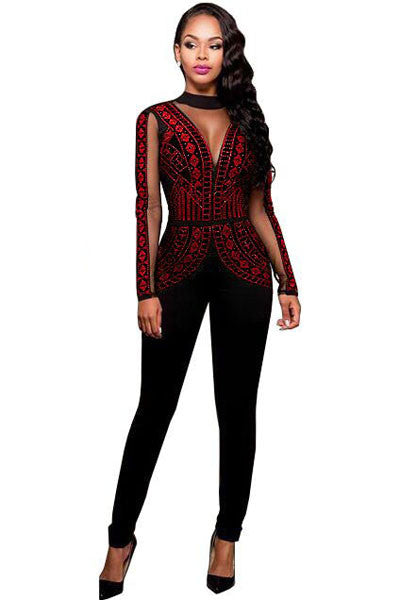 Rosy Glittering Studs Pattern Her Mesh Insert Fashion Jumpsuit