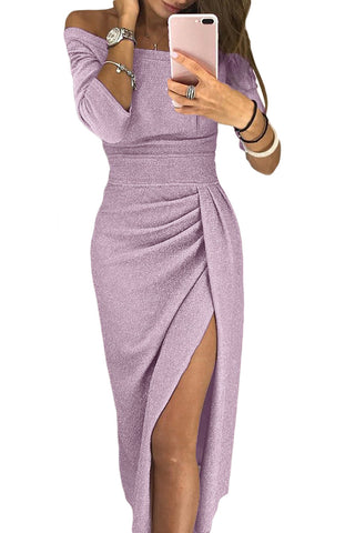 Rosy Pink Metallic Glitter Her Fashion Off Shoulder Formal Dress