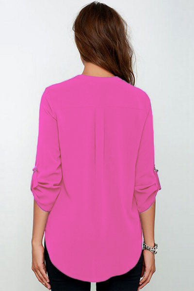 Rosy V-sionary Trendy Women V Neck Chiffon Blouse Top