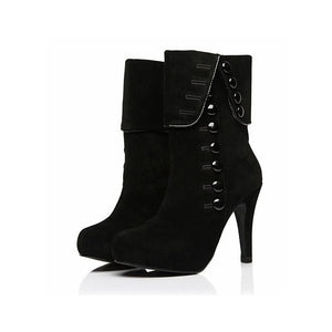 Round Toe Ankle Boots High Heel Buttons Decor Womens Shoes