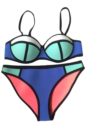 Royal Blue Bright Color Block Chic Bikini Swimsuit