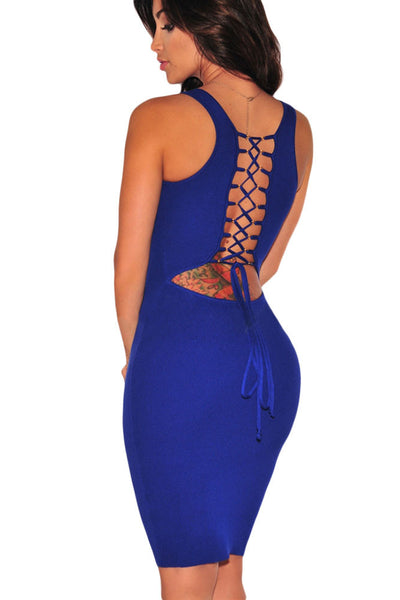 Royal Blue Scoop Neck Lace up Back Her Chic Dress