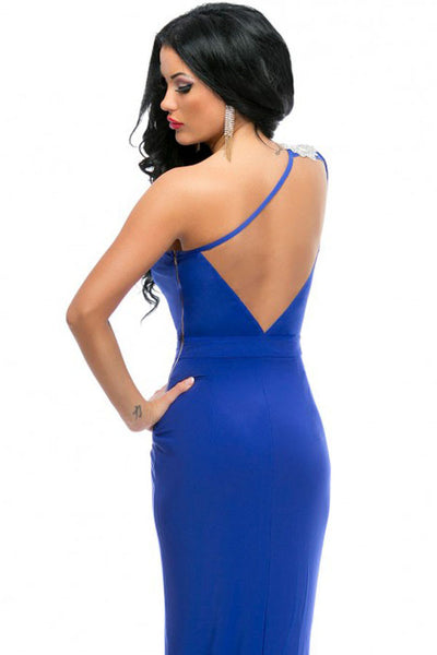 Royal Blue Asymmetric Shoulder High Split Her Prom Dress