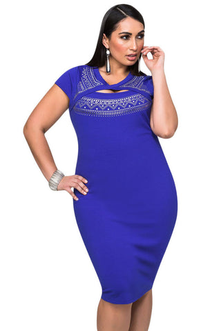 Royal Blue Big'n'Trendy Cutout Foil Print Bodycon Plus Size Dress