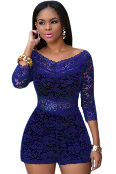 Royal Blue HerFashion Lace Overlay Off-shoulder Romper