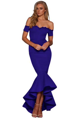 Royal Blue Lace Trim Her Fashion Off Shoulder Chic Mermaid Party Dress