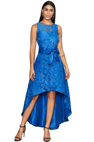 Royal Blue Sleeveless Lace Overlay Bow Sash Her Fashion Party Dress