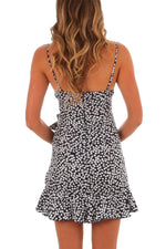 Ruffle Wrap Hemline Black Flourish HerFashion Boho Print Mini Sundress