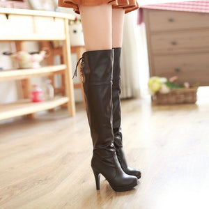 "Sexy Over The Knee Party PU High Heels Platform Boots ""Trendy Series"""