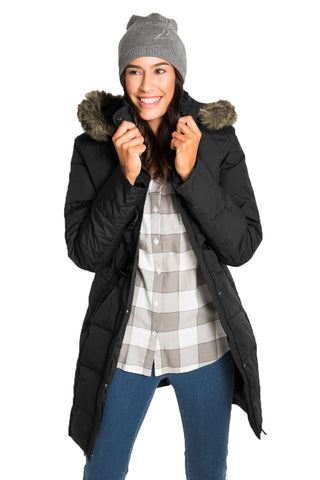 STYLISH HER FASHION BLACK TOGGLE BUTTON QUILTED WOMEN COAT