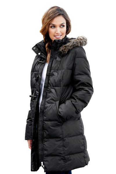 STYLISH HER FASHION BURGUNDY TOGGLE BUTTON QUILTED WOMEN COAT