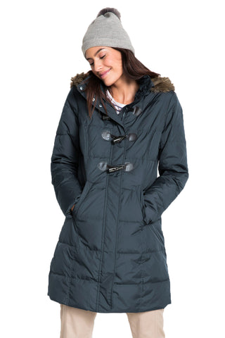 STYLISH HER FASHION GREY TOGGLE BUTTON QUILTED WOMEN COAT
