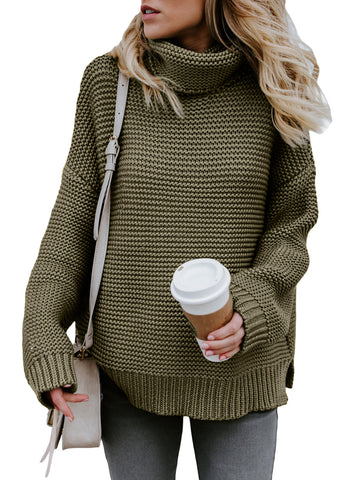 STYLISH SAGE GREEN COZY LONG SLEEVES HER FASHION TURTLENECK SWEATER