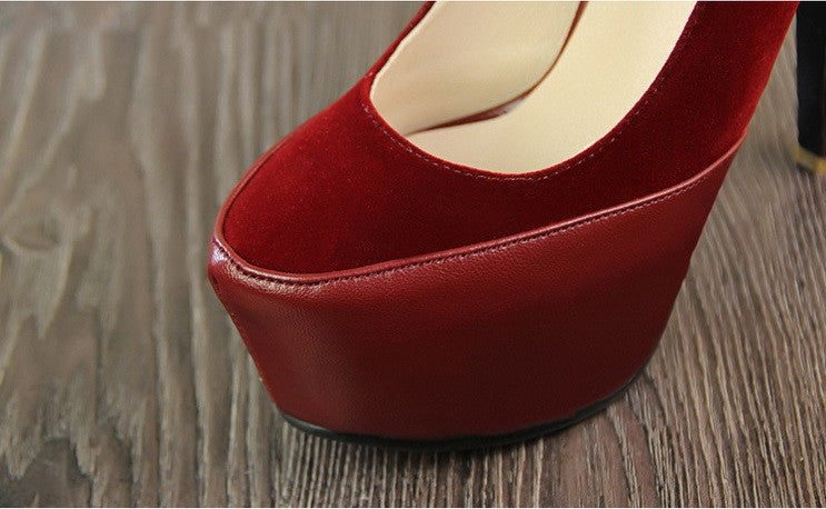"Super Sweet Elegance Suede Sexy Belt Buckle Platform Party Heels Shoes ""Trendy Series"""