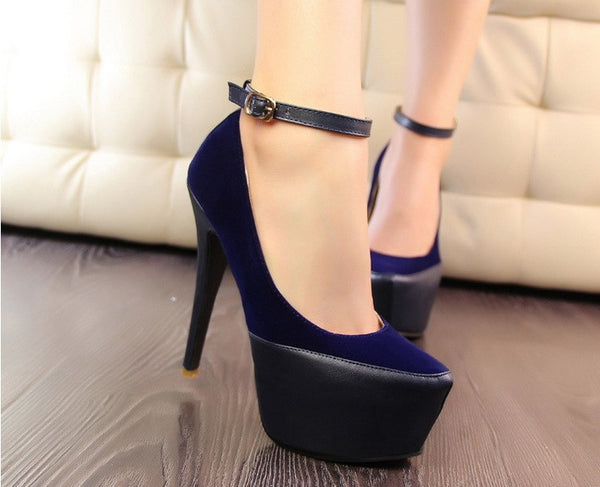 "Elegant Suede Sexy Belt Buckle Platform Party Heels Shoes ""Trendy Series"""