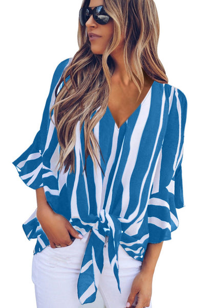 Sassy Look Red Vertical Stripes Her Fashion V Neck Stylish Blouse