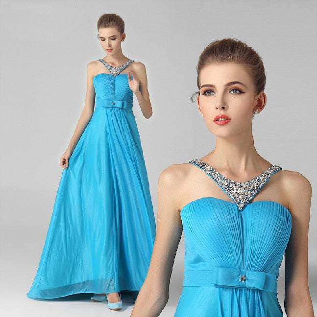 "Satin V-Neck Sleeveless  ""Elegant Series"" Evening Dress 2015 (Plus Size Available)"