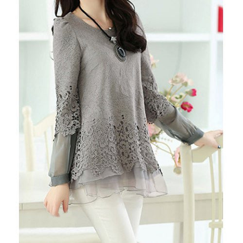 Scoop Neck Lace Work Long Sleeve Women's T-Shirt
