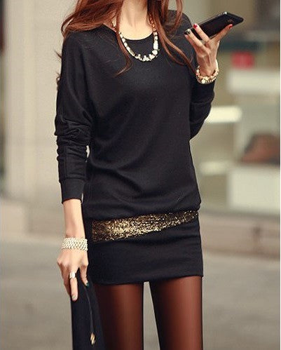 "Scoop Neck Long Sleeve Sequin Embellished Hip Packet  Cotton Blend ""Simple Serie"