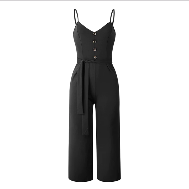 Sexy Her Fashion Jumpsuits Elegant Belt Bandage Buttons Women Rompers
