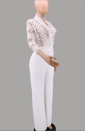 White Long Sleeve Women Jumpsuits Her Fashion Hollow Out Lace Romper