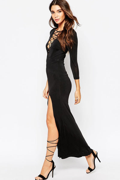 Seductive Lace-up V Neck Maxi Her Evening Dress