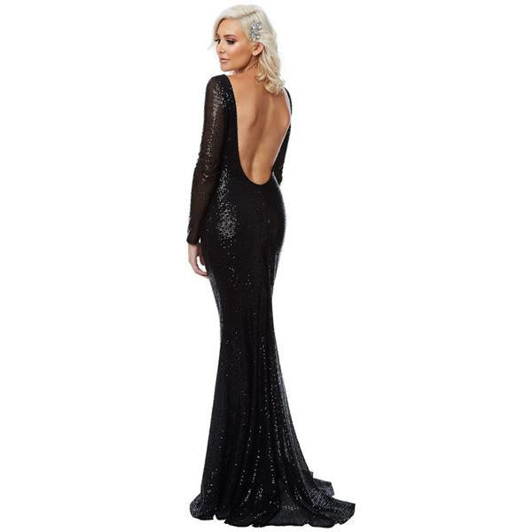 76ab32640e Sequin Black Long Sleeve HerFashion Backless Evening Mermaid Maxi Dress