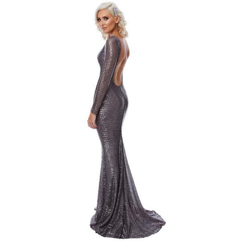 Sequin Grey Long Sleeve HerFashion Backless Evening Mermaid Maxi Dress