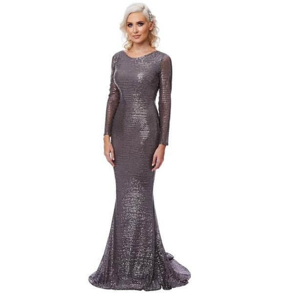 a2f2ad2f7f Sequin Grey Long Sleeve HerFashion Backless Evening Mermaid Maxi Dress