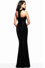 Sequin Trim Wondrous Jersey Gown