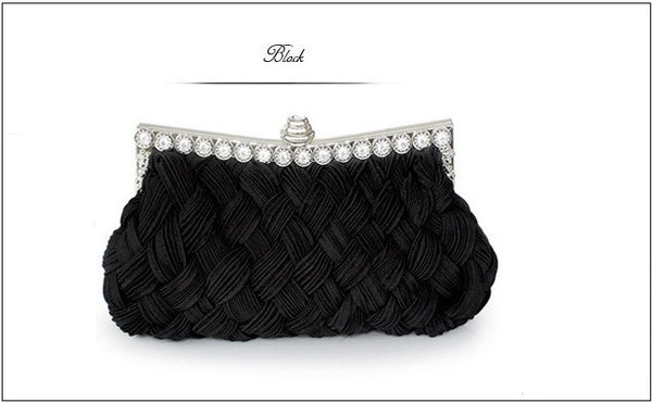 Sequins Diamonds Hasp Satin Crafted Evening Clutch Ladies Hand Bag
