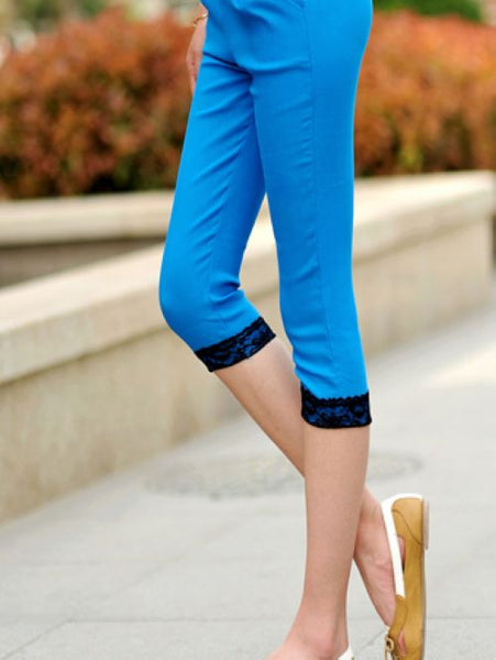 Sexy Chic High Waist Candy Color Slim Lace Capris