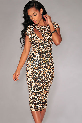 Her Fashion Sexy Hollow-out Chest Short Sleeves Leopard Midi Dress