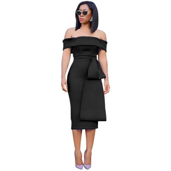 Sexy Off Shoulder Purple Her Fashion New Bow Bodycon Midi Dress