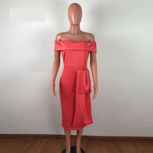 Sexy Off Shoulder Red Her Fashion New Bow Bodycon Midi Dress